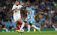Football - 2016 / 2017 Champions League - Qualifying Play-Off, Second Leg: Manchester City [5] vs. Steaua Bucharest [0]<br /> <br /> Fernandinho of Manchester City and Jugurtha Hamroun of Steaua Bucharest during the match, at the Ethihad Stadium.<br /> <br /> COLORSPORT/LYNNE CAMERON