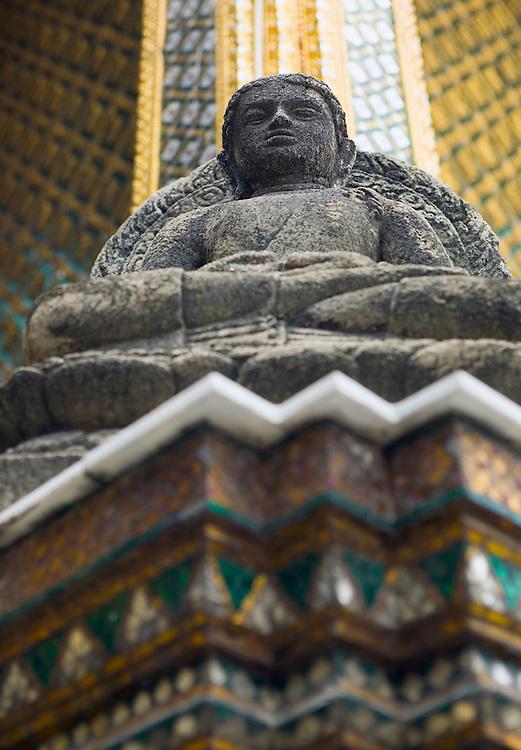 Stone Buddha Wat Phra Kaew near Royal Grand Palace Bangkok Thailand&amp;#xA;<br />