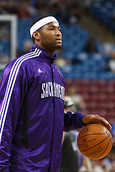 March 18, 2011; Sacramento, CA, USA;  Sacramento Kings power forward DeMarcus Cousins (15) warms up before the game against the Philadelphia 76ers at the Power Balance Pavilion. Philadelphia defeated Sacramento 102-80.