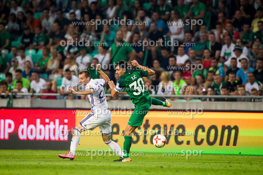 Branko Ilic of NK Olimpija Ljubljana and Jasmin Mesanovic of NK Maribor during football match between NK Olimpija Ljubljana and NK Maribor in 7th Round of Prva liga Telekom Slovenije 2017/18, on August 27, 2017 in SRC Stozice, Ljubljana. Photo by Ziga Zupan / Sportida