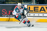 KELOWNA, CANADA - MARCH 22: Cole Linaker #26 of the Kelowna Rockets stops on the ice against the Tri-City Americans on March 22, 2014 at Prospera Place in Kelowna, British Columbia, Canada.   (Photo by Marissa Baecker/Shoot the Breeze)  *** Local Caption *** Cole Linaker;