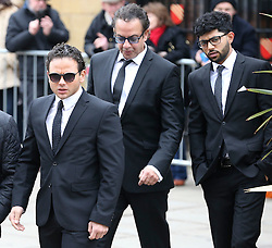 © Licensed to London News Pictures . 18/03/2016 . Manchester , UK . Ryan Thomas, Jimmi Harkishin and Qasim Akhtar  arrive at the service. Television stars and members of the public attend the funeral of Coronation Street creator Tony Warren at Manchester Cathedral . Photo credit : Joel Goodman/LNP