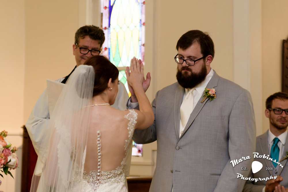 bride and groom church wedding by Tallmadge wedding photographer, Akron wedding photographer Mara Robinson Photography