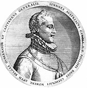 Don John or Juan of Austria (1545-1578), Spanish soldier. Illegitimate son of Emperor Charles V,  half-brother of Philip II of Spain.  With the Spanish, Ventian and Papal forces he defeated the Turks at the Battle of Lepanto 7 October 1571, the last major naval engagement using galleys. Governor of the Netherlands 1576. Engraving.
