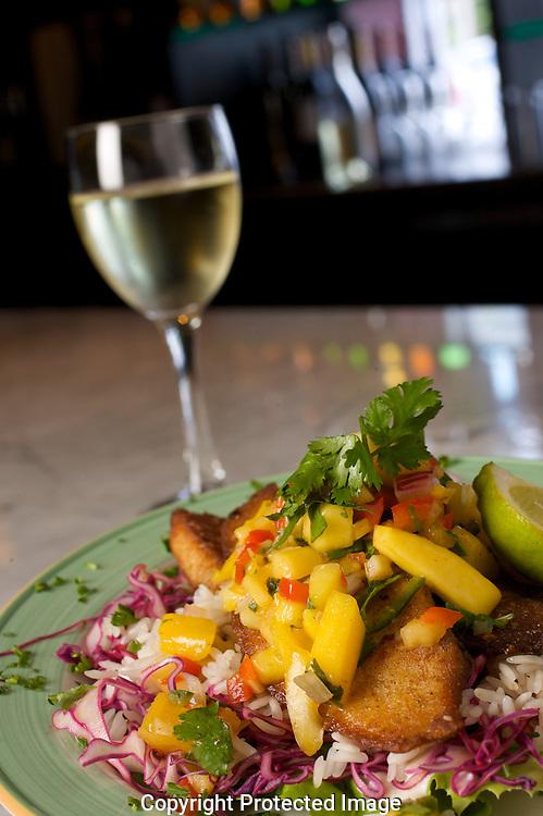 Vino Vino's Lettuce Wrapped fish taco $4.00 during happy hour.(Jodi Miller/Alive).