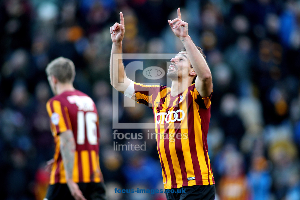 Filipe Morais (C) of Bradford City celebrates scoring the 3rd goal of the game against  Dartford FC during the The FA Cup match at the Coral Windows Stadium, Bradford<br /> Picture by Stephen Gaunt/Focus Images Ltd +447904 833202<br /> 07/12/2014