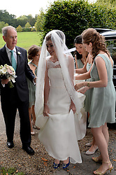 Former Prime Minister Tony Blair's Son Euan Blair Wedding to Suzanne Ashman at All Saints Church in  Wotton Underwood, United Kingdom. Saturday, 14th September 2013. Picture by Ben Stevens / i-Images<br /> <br /> Pictured is Suzanne Ashman arriving at All Saints Church