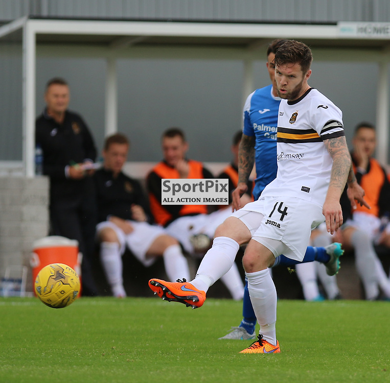Darren Barr has to play it backwardsduring the Dumbarton FC V Queen of the South FC Scottish Championship 22th August 2015 <br /> <br /> (c) Andy Scott | SportPix.org.uk