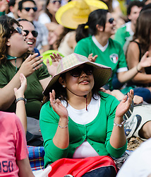 © Licensed to London News Pictures. 11/08/2012. London, UK.  Mexican football fans watch the Olympic final featuring Brazil vs Mexico being played on big screens at BT London Live 2012, Hyde Park.   Photo credit : Richard Isaac/LNP