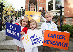 Repro Free: 17/09/2012.Sophie McElwain (4), Oran O'Hagan (8), Charlotte Stafford (2) and Fionn O'Hagan (5)pictured as the Irish Cancer Society today announced that it has taken a major step forward to deliver its vision for cancer research in Ireland, by allocating ?7.5 million in funding to establish a Collaborative Cancer Research Centre in Ireland. This equates to ?1.5 million in funding being allocated per year, for up to five years. Pic Andres Poveda.