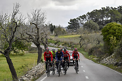 December 15, 2017 - Majorca, SPAIN - Belgian Jasper De Buyst of Lotto Soudal, Belgian Jens Keukeleire, German Andre Greipel of Lotto Soudal and Belgian Tiesj Benoot of Lotto Soudal pictured in action during a press day during Lotto-Soudal cycling team stage in Mallorca, Spain, ahead of the new cycling season, Friday 15 December 2017. BELGA PHOTO DIRK WAEM (Credit Image: © Dirk Waem/Belga via ZUMA Press)