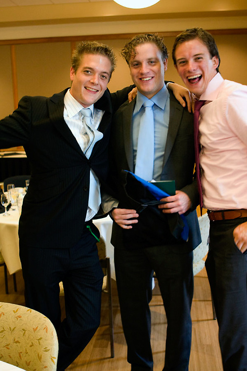 8. Vincent van Assendelft, 25, Joris Kellendonk, 25, and Joep de Leew, 27, laugh it up at the award ceremony and luncheon for the 50th Ohio University without Boundaries group.