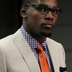 Jun 14, 2012; Oklahoma City, OK, USA;  Oklahoma City Thunder small forward Kevin Durant (35) arrives before game two in the 2012 NBA Finals at Chesapeake Energy Arena. Mandatory Credit: Derick E. Hingle-US PRESSWIRE