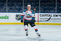 KELOWNA, CANADA - FEBRUARY 6:  Alex Swetlikoff #17 of the Kelowna Rockets warms up against the Spokane Chiefs on February 6, 2019 at Prospera Place in Kelowna, British Columbia, Canada.  (Photo by Marissa Baecker/Shoot the Breeze)