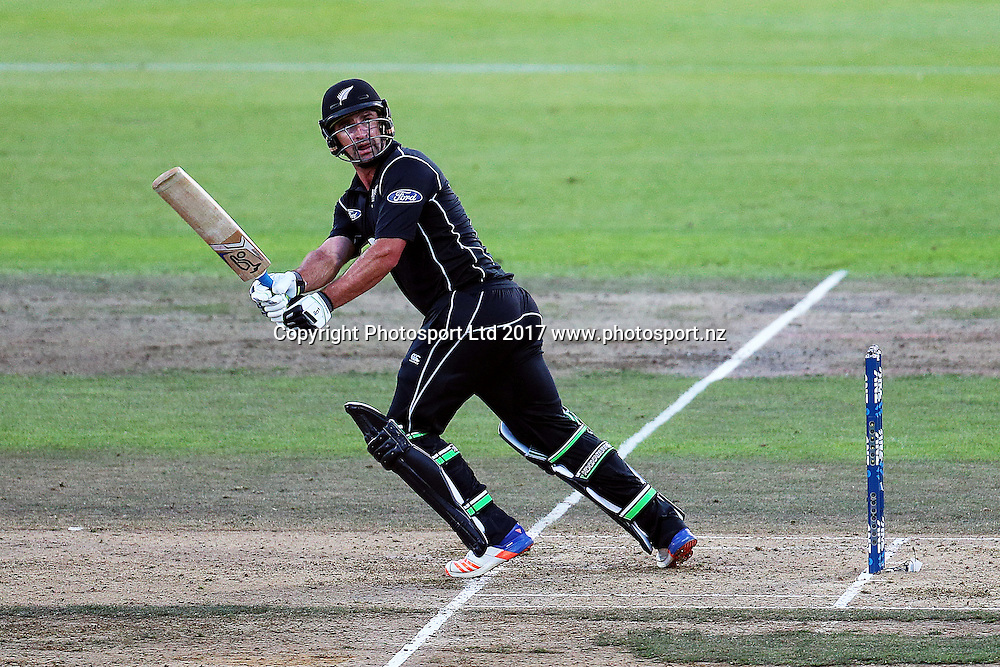 Blackcaps' Colin de Grandhomme batting during the One Day International cricket match - New Zealand Black Caps v South Africa played at Seddon Park, Hamilton, New Zealand on Sunday 19 February 2017.  Copyright photo: Bruce Lim / www.photosport.nz