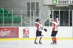 Markus Piispanen and Miha Brus of HK SZ Jesenice celebrate during ice hockey match between HK SZ Olimpija and HDD SIJ Acroni Jesenice in AHL - Alps Hockey League 2017/18, on October 25, 2017 in Hala Tivoli, Ljubljana, Slovenia. Photo by Matic Klansek Velej / Sportida