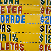 The drinks price list of a street vendor in Mexico City.