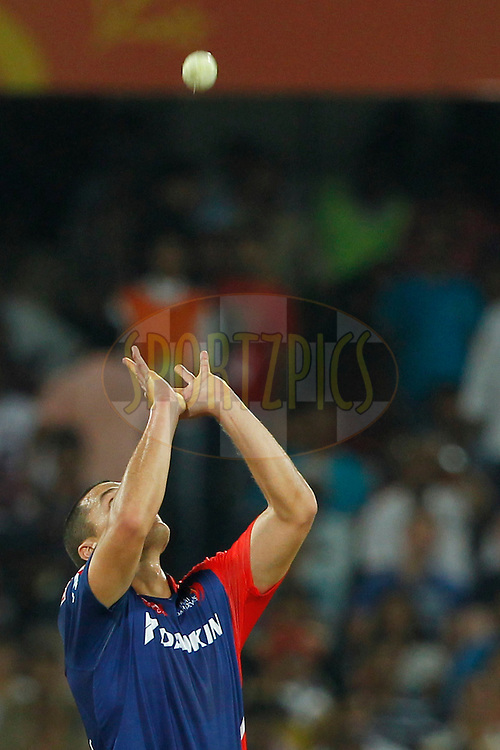 Nathan Coulter-Nile of Delhi Daredevils during match 42 of the Vivo IPL 2016 (Indian Premier League ) between the Sunrisers Hyderabad and the Delhi Daredevils held at the Rajiv Gandhi Intl. Cricket Stadium, Hyderabad on the 12th May 2016<br /> <br /> Photo by Deepak Malik / IPL/ SPORTZPICS