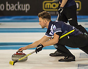 "Glasgow. SCOTLAND.  Scotland's, Ross PATERSON, guiding his ""Stone towards the Hog Line, during a  ""Round Robin"" Game. Le Gruyère European Curling Championships. 2016 Venue, Braehead  Scotland<br /> Tuesday  22/11/2016<br /> <br /> [Mandatory Credit; Peter Spurrier/Intersport-images]"