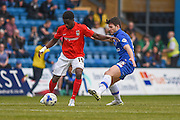 Coventry City midfielder Gael Bigirimana holds up the ball during the Sky Bet League 1 match between Gillingham and Coventry City at the MEMS Priestfield Stadium, Gillingham, England on 2 April 2016. Photo by Martin Cole.
