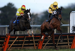 Race Winner Fox Norton (right) ridden by Noel Fehily jumps during the Bathwick Tyres Handicap Hurdle (Class 2) (4YO plus) - Photo mandatory by-line: Harry Trump/JMP - Mobile: 07966 386802 - 17/02/15 - SPORT - Equestrian - Horse Racing - Taunton Racecourse, Somerset, England.