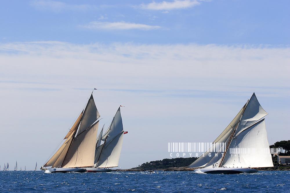 Lulworth, Orion and Mariquita. In front of Cap d'Antibes.Voiles d'Antibes 2007.