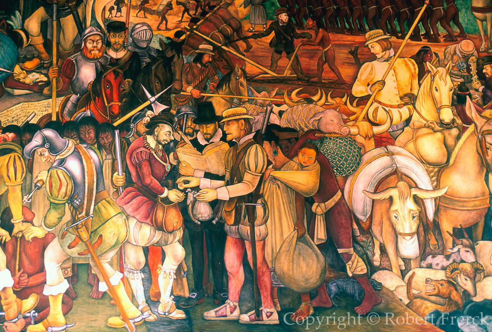 MEXICO, MEXICO CITY, MURAL Rivera's Arrival of Cortés in Veracruz