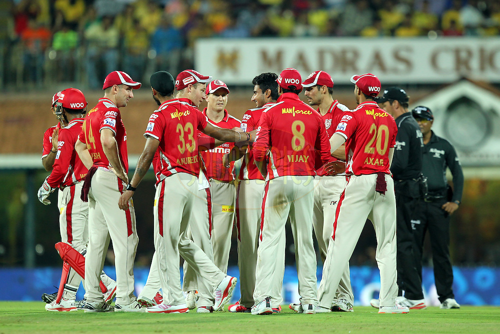 Anureet Sibgh of Kings XI Punjab celebrates wicket of Suresh Raina of CSK during match 24 of the Pepsi IPL 2015 (Indian Premier League) between The Chennai Superkings and The Kings XI Punjab held at the M. A. Chidambaram Stadium, Chennai Stadium in Chennai, India on the 25th April 2015.Photo by:  Prashant Bhoot / SPORTZPICS / IPL