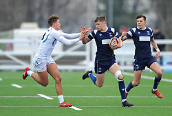 Jack Bates of Bristol Bears Academy U18 tries to hold off Devlin Welch of Exeter Chiefs U18 -Mandatory by-line: Nizaam Jones/JMP- 05/01/2019 - RUGBY - North Bristol RFC - Bristol, England - Bristol Academy U18 v Exeter Chiefs U18-U18 Academy League