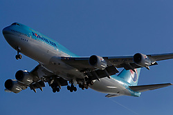 Boeing 747-8B5 (HL-7638) operated by Korean Air on approach to San Francisco International Airport (SFO), San Francisco, California, United States of America