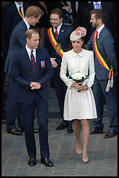 licensed to i-Images Picture Agency. 04/08/2014. Mons, Belgium. The Duke and Duchess of Cambridge and Prince Harry after a Reception at Mons Town Hall in Belguim as part of series of events to commemorate  the 100th anniversary of the start of the First World War. Picture by Andrew Parsons / i-Images