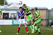 Forest Green Rovers Nathan McGinley(19) heads the ball during the EFL Sky Bet League 2 match between Forest Green Rovers and Exeter City at the New Lawn, Forest Green, United Kingdom on 4 May 2019.
