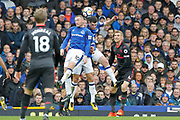 Everton striker Wayne Rooney (10) Everton defender Phil Jagielka (6) and Everton defender Michael Keane (4) get up to clear the danger during the Premier League match between Everton and Arsenal at Goodison Park, Liverpool, England on 22 October 2017. Photo by Craig Galloway.