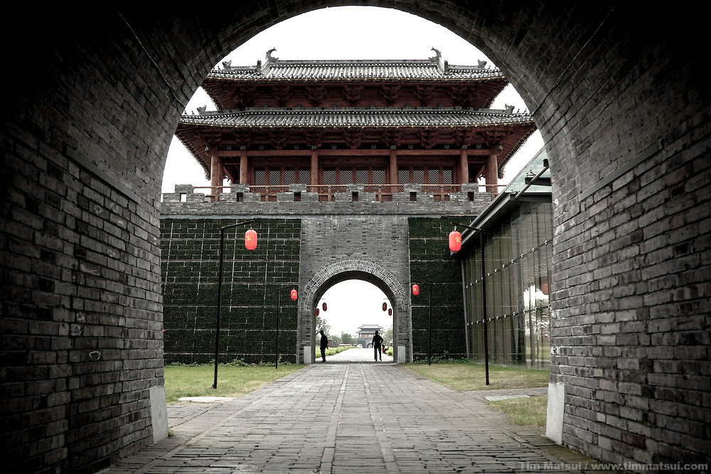 A reconstruction of a historic palace in the center of Yangzhou, China, a suburb city of Shanghai and major producer of photovoltaic cells for solar power.