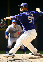 May 3, 2018 - Phoenix, AZ, U.S. - PHOENIX, AZ - MAY 03: Arizona Diamondbacks relief pitcher Fernando Salas (57) pitches during the MLB baseball game between the Arizona Diamondbacks and the Los Angeles Dodgers on May 3, 2018 at Chase Field in Phoenix, AZ (Photo by Adam Bow/Icon Sportswire) (Credit Image: © Adam Bow/Icon SMI via ZUMA Press)