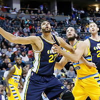 10 April 2016: Utah Jazz center Rudy Gobert (27) vies for the rebound with Denver Nuggets center Joffrey Lauvergne (77) during the Utah Jazz 100-84 victory over the Denver Nuggets, at the Pepsi Center, Denver, Colorado, USA.