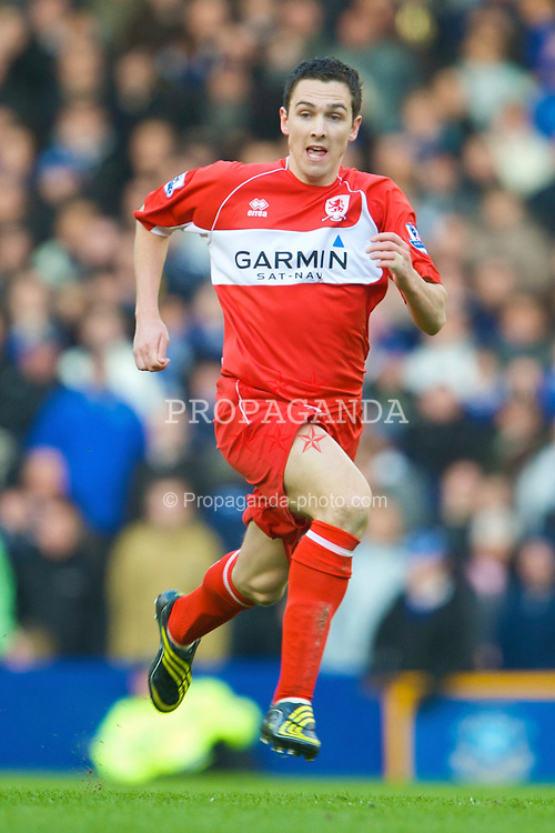 LIVERPOOL, ENGLAND - Sunday, March 8, 2009: Middlesbrough's Stewart Downing in action against Everton during the FA Cup Quarter-Final match at Goodison Park. (Photo by David Rawcliffe/Propaganda)