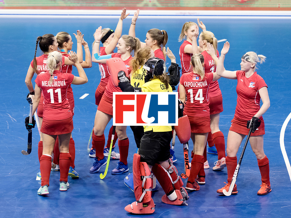BERLIN - Indoor Hockey World Cup<br /> Women: Russia - Czech Republic<br /> foto: Czech Republic before the match.<br /> WORLDSPORTPICS COPYRIGHT FRANK UIJLENBROEK