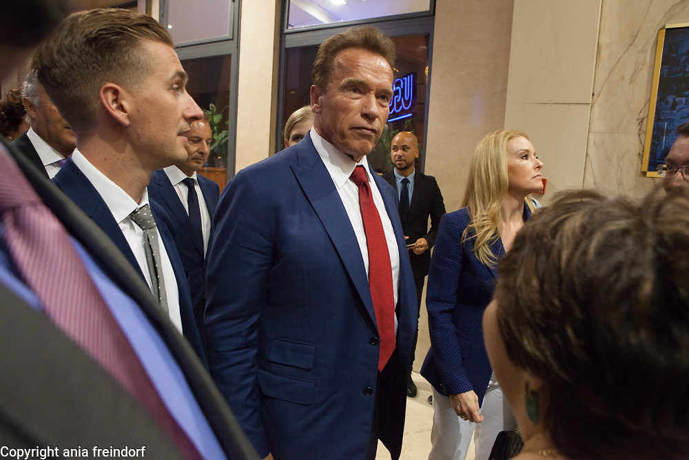 """Arnold Schwarzenegger presenting the documentary film """"Wonders of the sea"""", produced by Arnold Schwarzenegger and Francois Montello, directed by Jean-Michel Cousteau and Jean-Jacques Montello, with the support of R20, Di Caprio Fondation and Green Cross, Paris, France"""