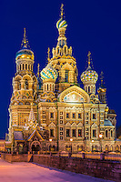 Church of the Savior on Blood in St. Petersburg, at night.