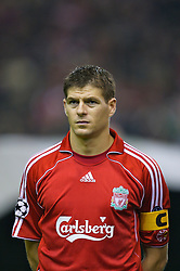 Liverpool, England - Wednesday, October 3, 2007: Liverpool's captain Steven Gerrard MBE lines-up to face Olympique de Marseille before the UEFA Champions League Group A match at Anfield. (Photo by David Rawcliffe/Propaganda)