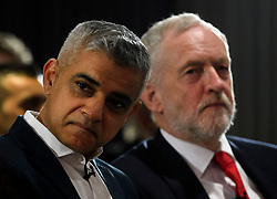 © Licensed to London News Pictures. 09/04/2018. London, UK. Mayor of London SADIQ KHAN and Labour Party leader JEREMY CORBYN attend the launch event for the Labour Party local election campaign launch in central London.  Labour are expected to make gains in the capital, potentially taking traditionally Conservative strongholds. Photo credit: Ben Cawthra/LNP
