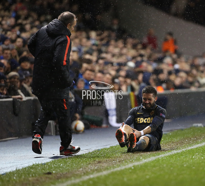 Monaco midfielder Joao Moutinho off the pitch injured during the Europa League match between Tottenham Hotspur and Monaco at White Hart Lane, London, England on 10 December 2015. Photo by Matthew Redman.