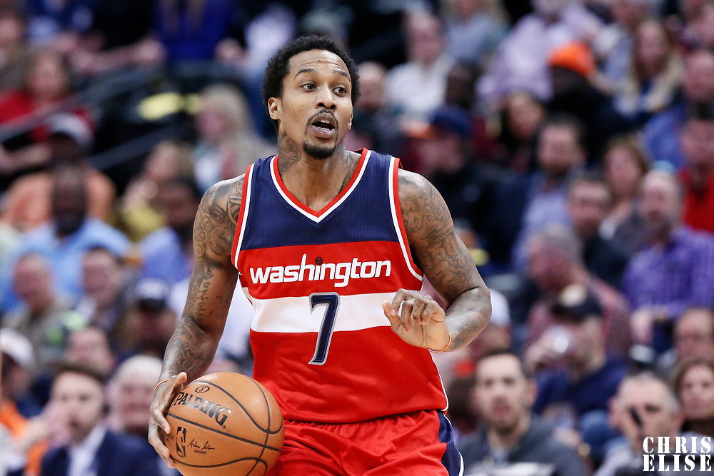 08 March 2017: Washington Wizards guard Brandon Jennings (7) brings the ball up court during the Washington Wizards 123-113 victory over the Denver Nuggets, at the Pepsi Center, Denver, Colorado, USA.