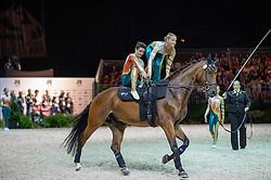 Team AUS, Zidane B, Meta Jans Rooijmans - Squad Freestyle Vaulting - Alltech FEI World Equestrian Games™ 2014 - Normandy, France.<br /> © Hippo Foto Team - Jon Stroud<br /> 03/09/2014