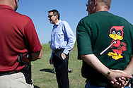 Republican presidential hopeful Tim Pawlenty campaigns at a gun range on Wednesday, July 20, 2011 in Madrid, IA.
