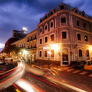 A cityscape in Old San Juan, Puerto Rico at sunset in March 2011.