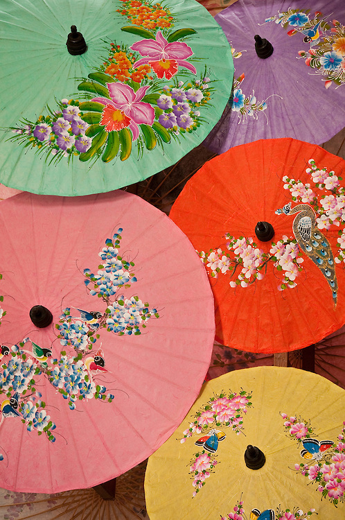 Hand-painted paper umbrellas at The Umbrella Factory in  Chiang Mai, Thailand.