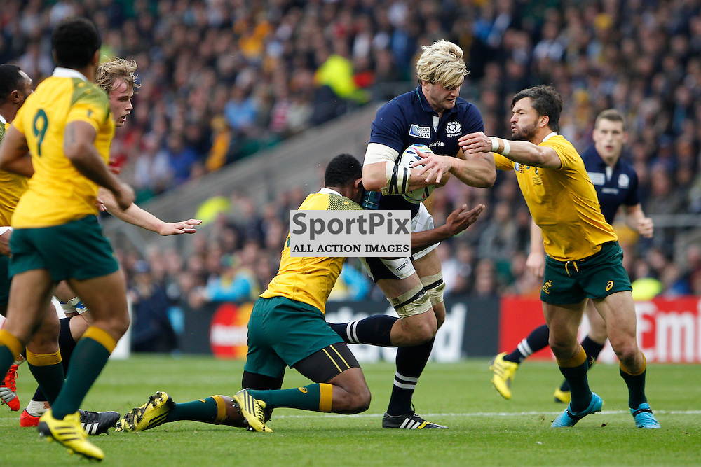 TWICKENHAM, ENGLAND - OCTOBER 18: Richie Gray is tackled by R Kuridrani during the 2015 Rugby World Cup quarter final between Scotland and Australia at Twickenham Stadium on October 18, 2015 in London, England. (Credit: SAM TODD | SportPix.org.uk)