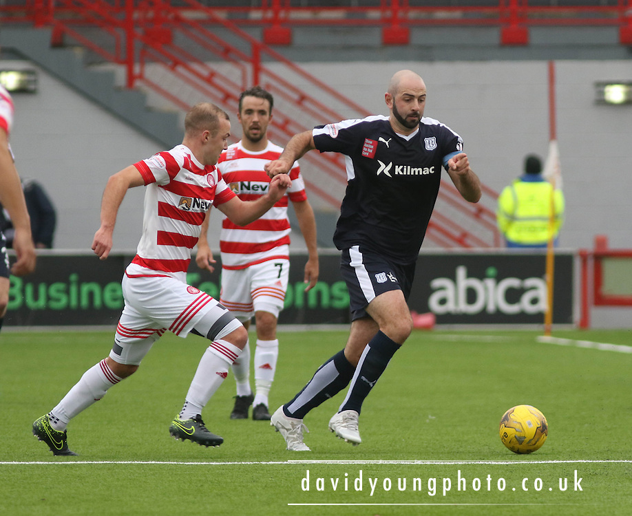 Dundee&rsquo;s Gary Harkins goes past Hamilton Academical's Grant Gillespie - Hamilton Academical v Dundee, Ladbrokes Premiership at New Douglas Park<br /> <br /> <br />  - &copy; David Young - www.davidyoungphoto.co.uk - email: davidyoungphoto@gmail.com